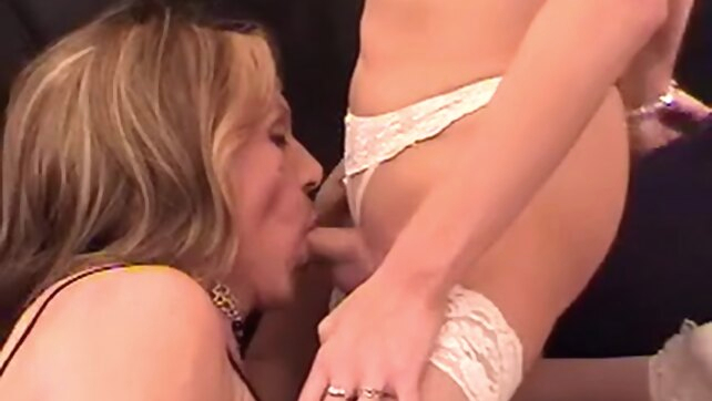 Two aged trannies blonde blowjob crossdressing