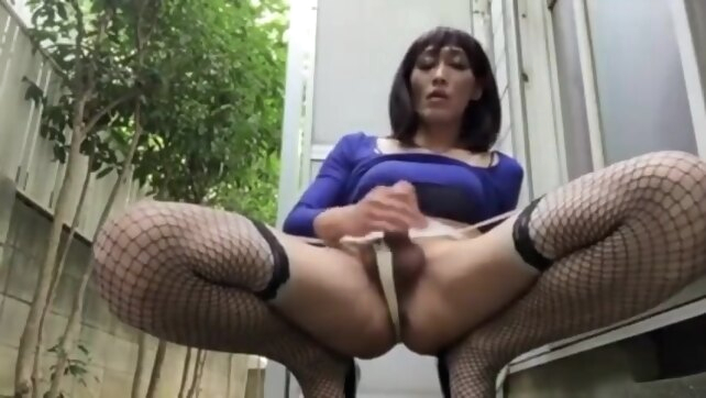 Asian crossdresser cums.. asian crossdressing cumshot